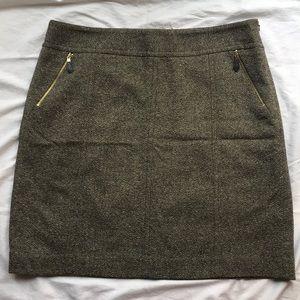 Ann Taylor Green Tweed Skirt